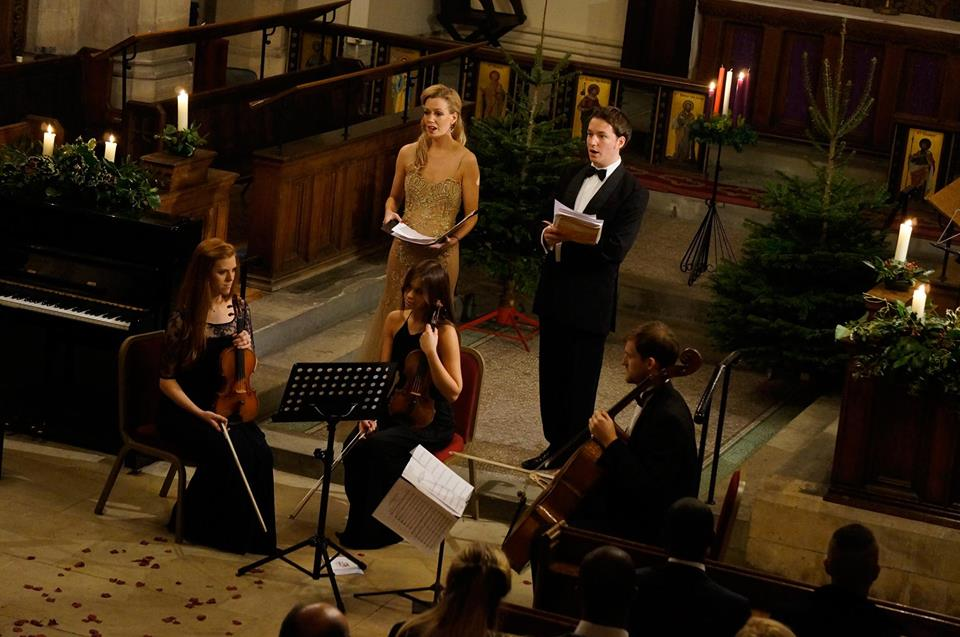 Alexandra Kennedy and Oliver Gerrish of Chelsea Concerts, singing in Christ Church, Chelsea. December 2014