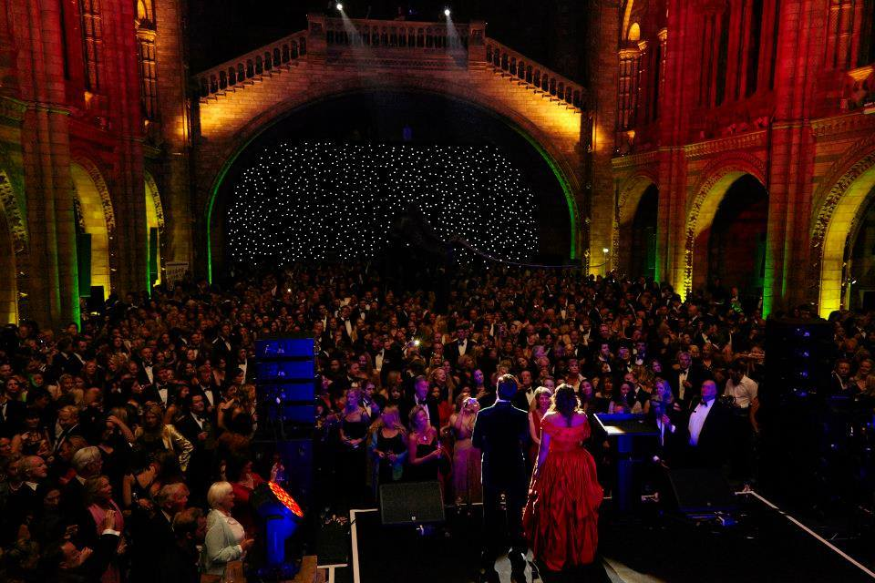 Oliver Gerrish and Meeta Raval of New Georgian Opera sang Jerusalem  to over three thousands guests (and a dinosaur!) at the Country Life Fair Grand Ball at the Natural History Museum, September 2014