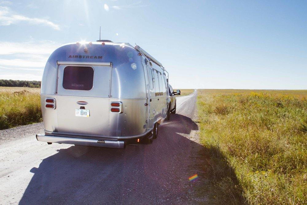 The beautiful Airstream in the Tallgrass Prairie