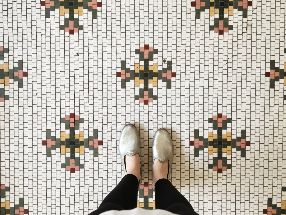 The gorgeous original floors of the Fordyce Bathhouse and my gorgeous silver Sabah shoes