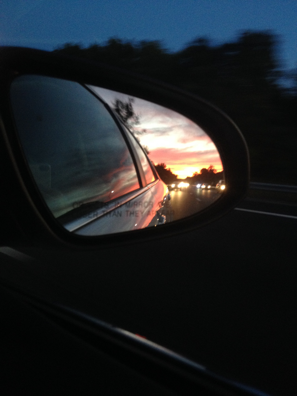 driving on up with Debbie, watching the sunset at our backs