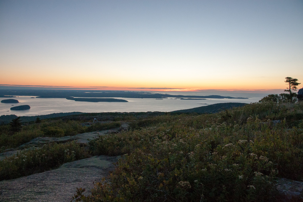 the beginning of sunrise on cadillac mountain