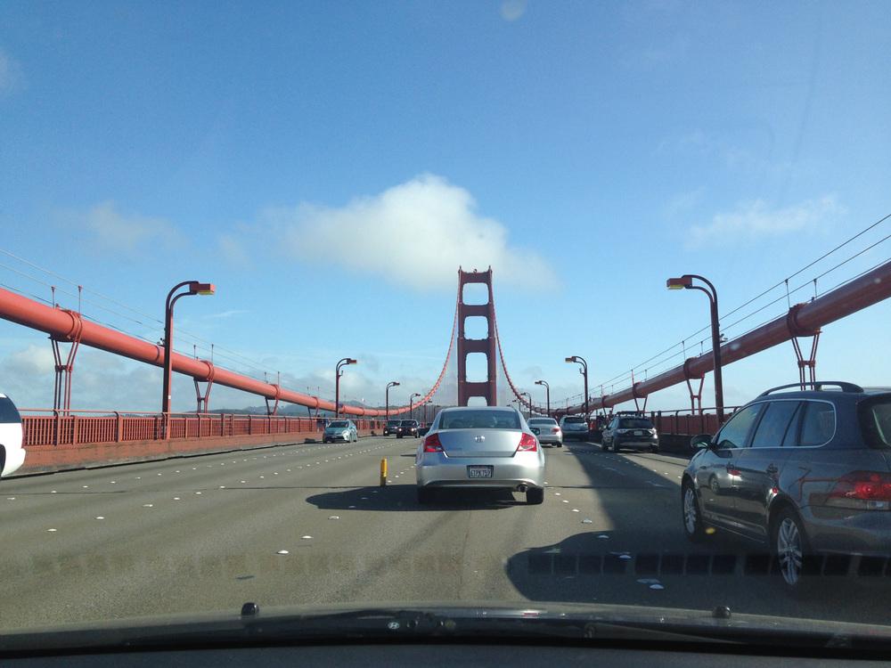 coming back across the golden gate bridge