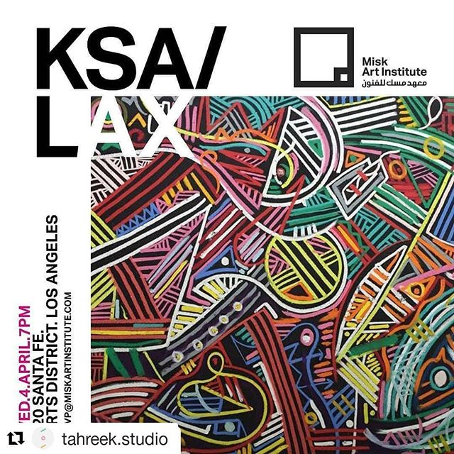 #Repost @tahreek.studio (@get_repost) ・・・ #Repost @stephenstapleton • • • If in #LA - join the @miskartinst for a very special exhibition #KSALAX. Utilizing paint, sound, animation, VR, and video, over 30 artists explore traditional themes and aesthetics in a 21s century context. #KSALAX will take in a large warehouse in the heart of the Downtown LA Arts District. rsvp@miskartinstitute.com #saudicontemporaryart #miskartinstitute