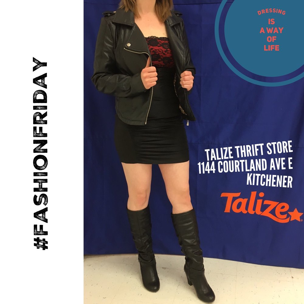 talizethrift Colour tips to look taller: go a shade darker on shoes and wear colours of similar intensity - G.L.A.M. dress / Therapy jacket / Spring boots  #fashionfriday  #springfashion   #style   #talizekitchener  #talize   #thrift   #thriftstorefinds   #dress
