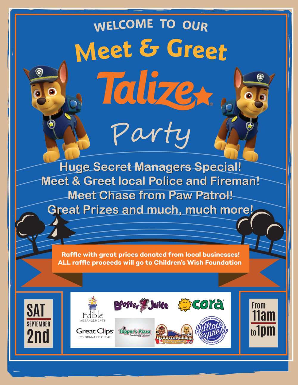 Don't miss our party! Huge Secret Managers Specials! Meet and Greet Local Police and Fireman! Meet Chase from Paw Patrol! Great Prizes and much, much more!