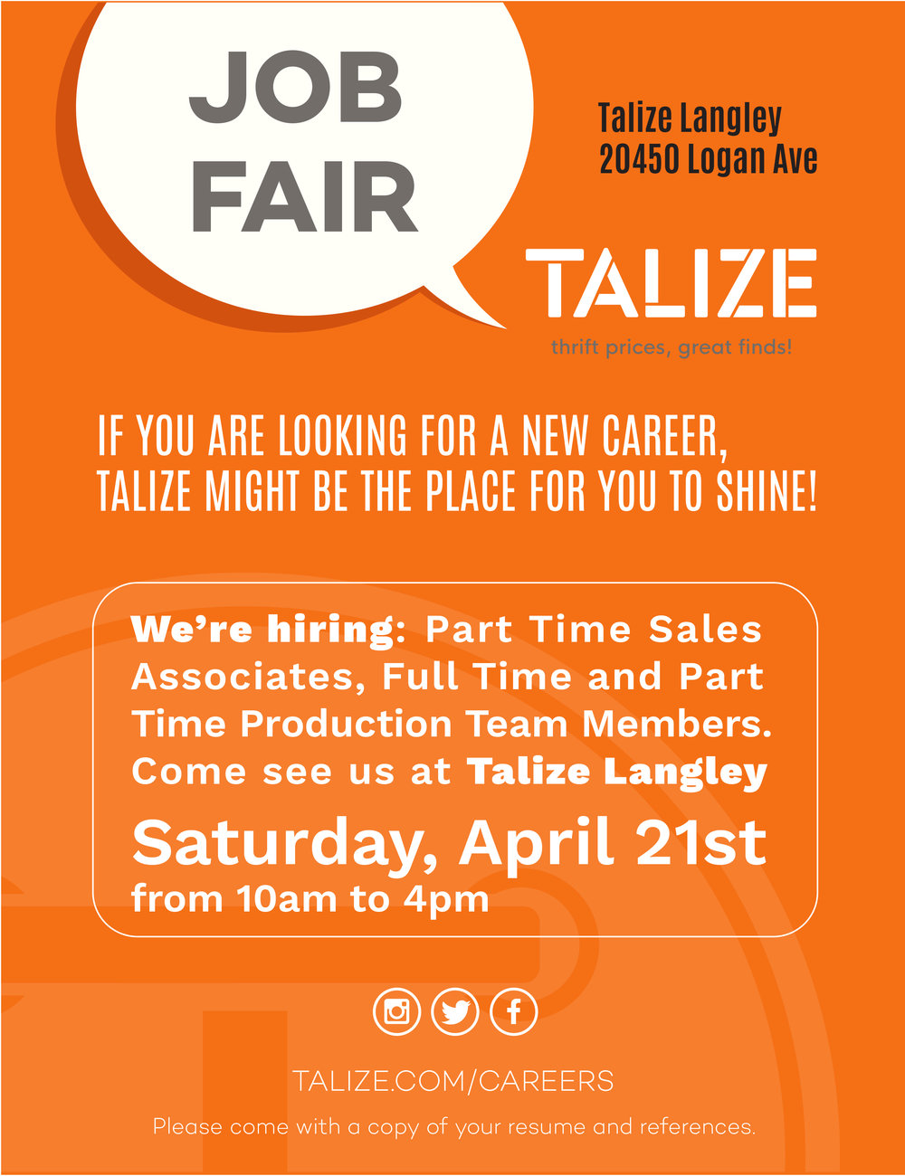 We're hiring: Part Time Sales Associates, Full Time and Part Time Production Team Members.  Come see us at Talize Langley Saturday, April 21st from 10am to 4pm