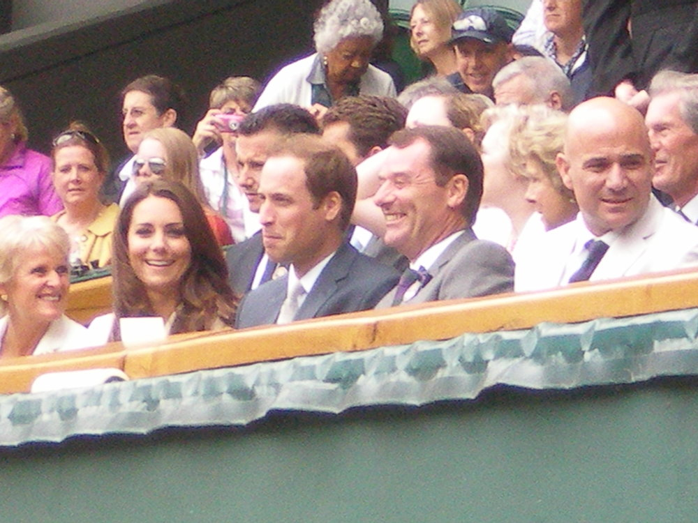 My photo from Federer vs Youzhny QF match Wimbledon 2012. That's Princess Kate, Prince William, All England Club Chairman and former champ Andre Agassi!