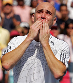 #9 End of an Era! Benjamin Becker def Andre Agassi 7-5 6-7 6-4 7-5 3rd Round 9/3/06