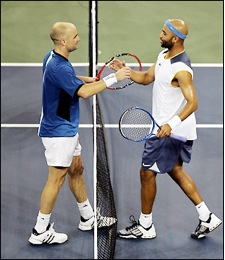 #4 Only in New York! Andre Agassi def James Blake 3-6, 3-6, 6-3, 6-3, 7-6 Quarterfinals 9/7/05
