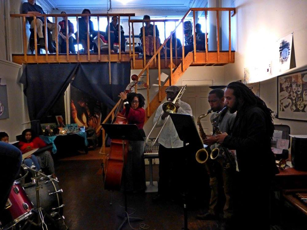 Jazz for the Musically Inclined Jam Session (left to right): Marion Hayden, Vincent Chandler, Marcus Elliot, Mike Monford