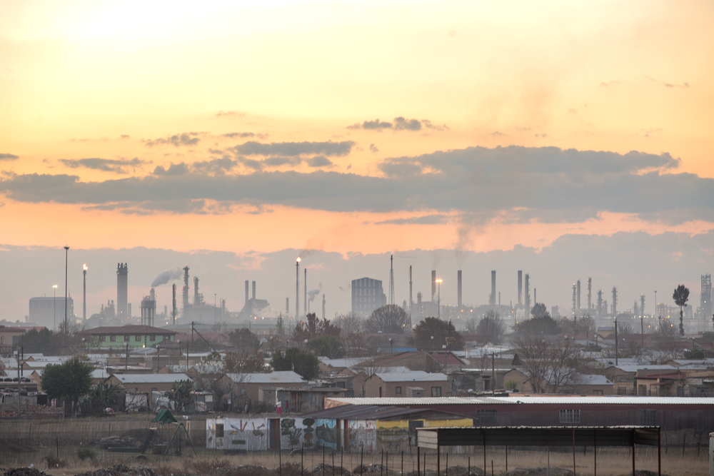 The Sasol chemical plant over the Zamdela Township