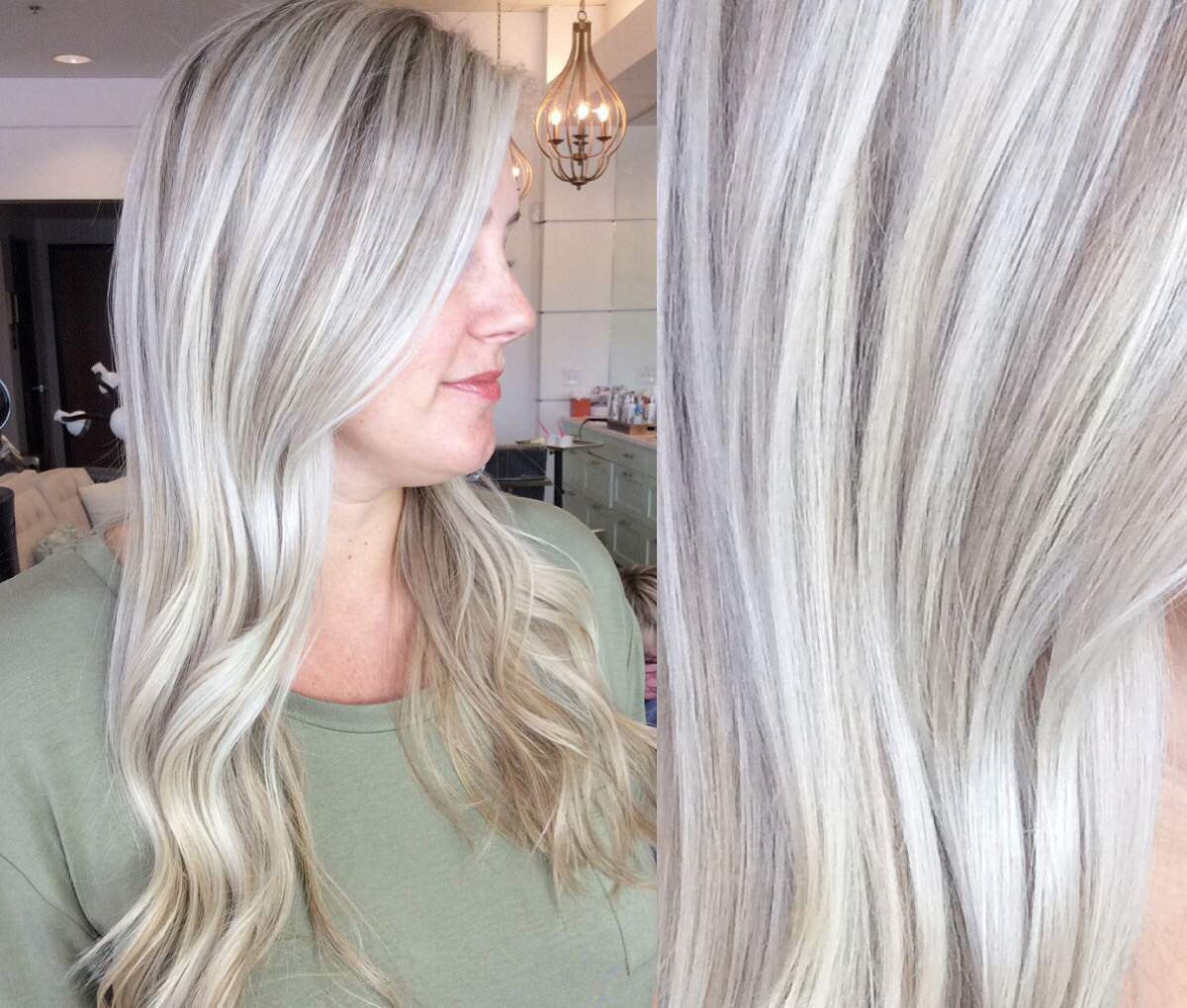 Even ashier than both photos above. This client has level 7 ash lowlights with heavy highlights. To acheive this tone: ask your stylist to over compensate and make your color as ashy as possible, almost on the grey side.