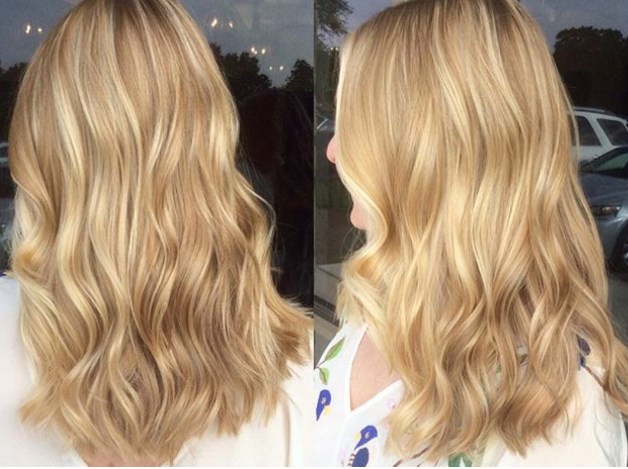 """This clients hair is definitely a lot more golden! She almost has a strawberry tint to it. We do a ton of lowlights to create different tones,of a level 7 gold, with a few highlights. I then glaze her with a level 10 """"brown"""" gold!"""