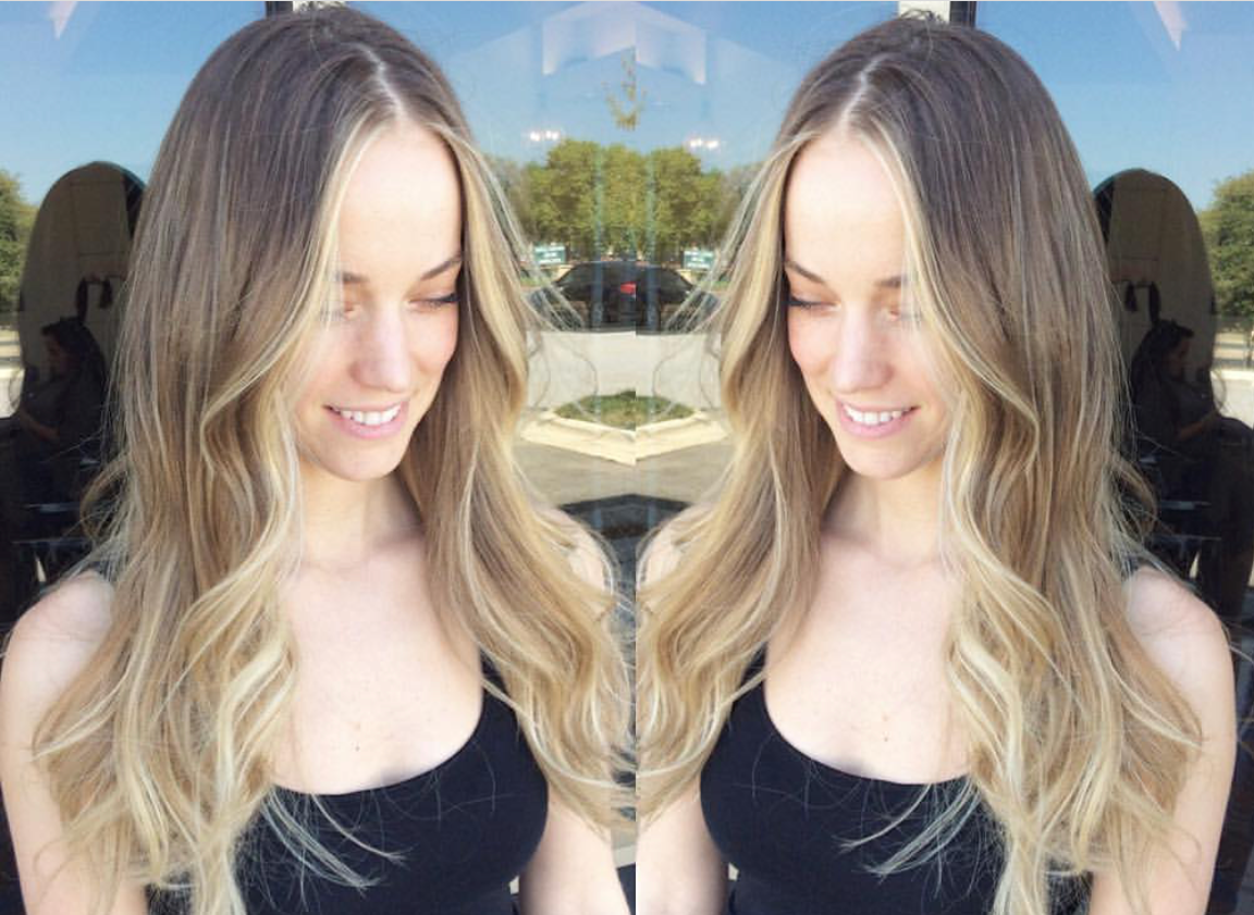 A darker example of babylights, but a good example lighteness around the face and ends while keeping your natural color at the base. You could even add a few more ribbons of highlights toward the root for a blonder effect.