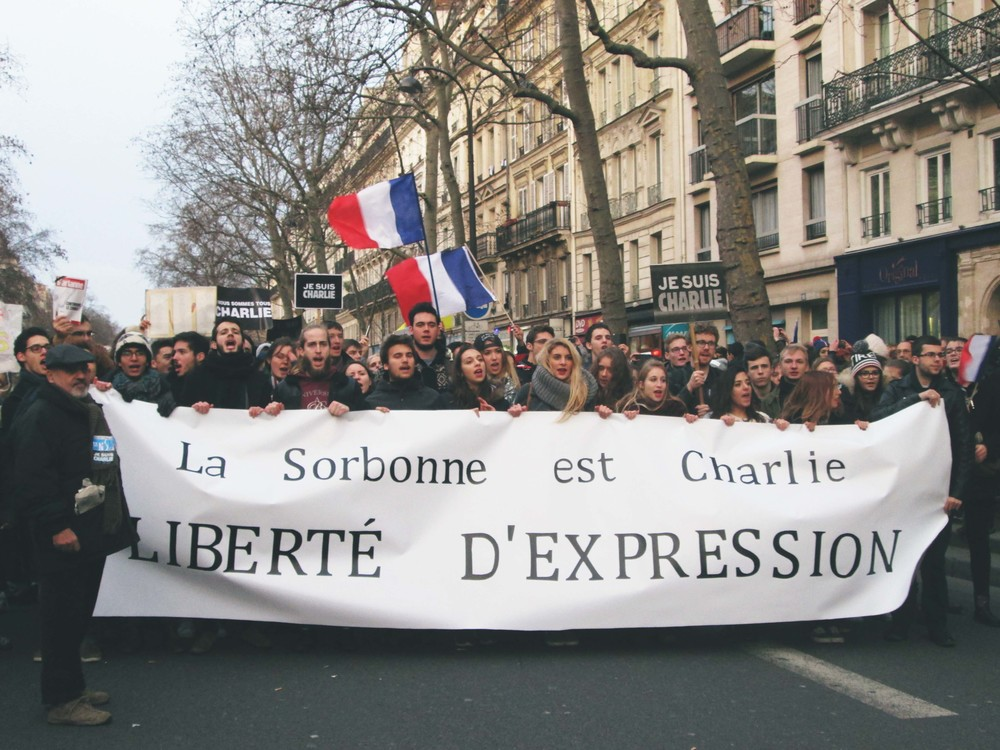 University students march in support of Charlie Hebdo in Paris