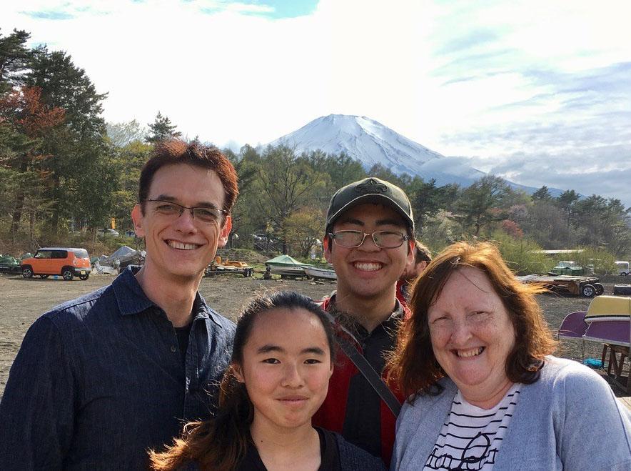 The Parsons family with Mount Fuji in the background.