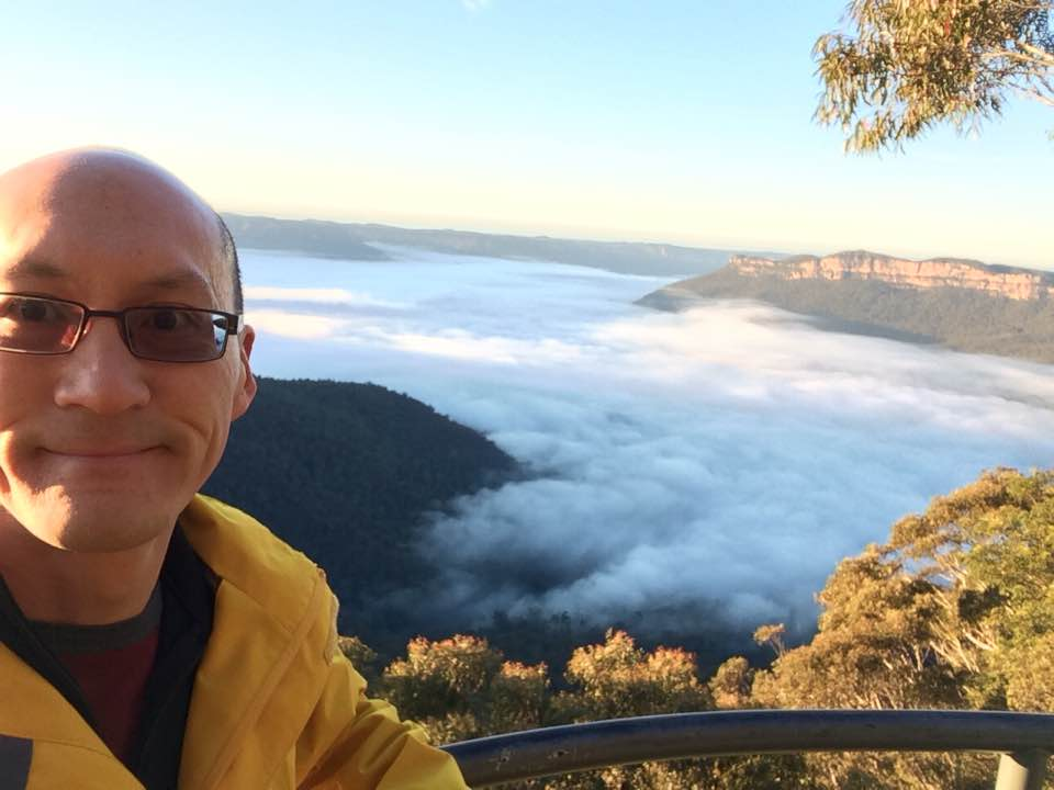 Wei-Han Kuan, CMS Victoria State Director, takes in the scenery at CMS Mid-Year Missionary Conference in Katoomba.
