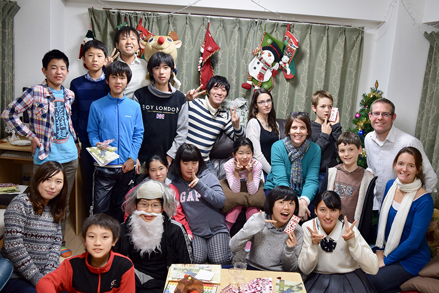 Christmas party with youth in Kobe, Japan.
