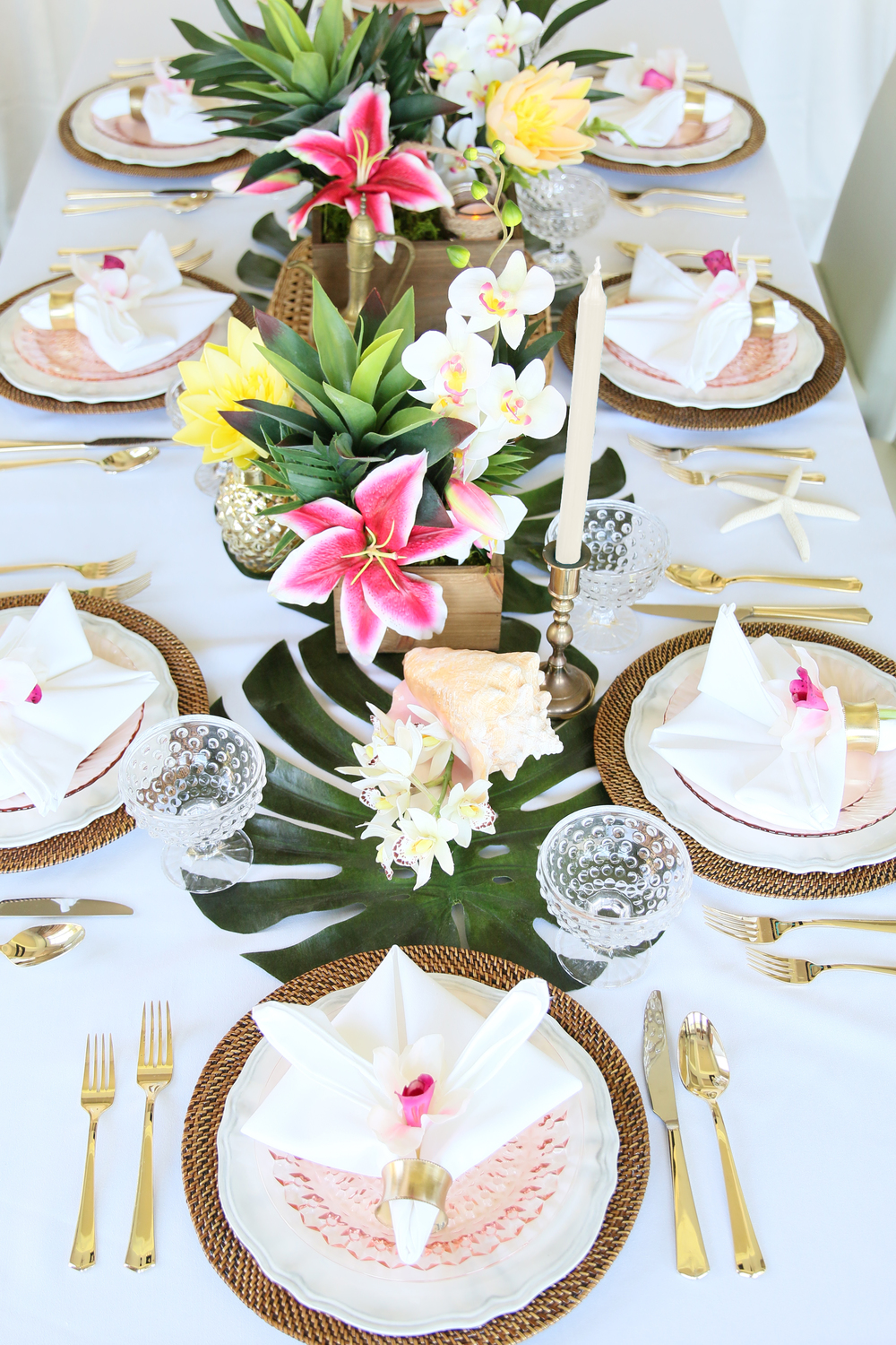 Copy of Palm leaves, tropical flowers, golden pineapples, wicker, seashells, & golden accents - Perfect for a baby shower, bridal shower, or birthday celebration! @inJOYtheParty