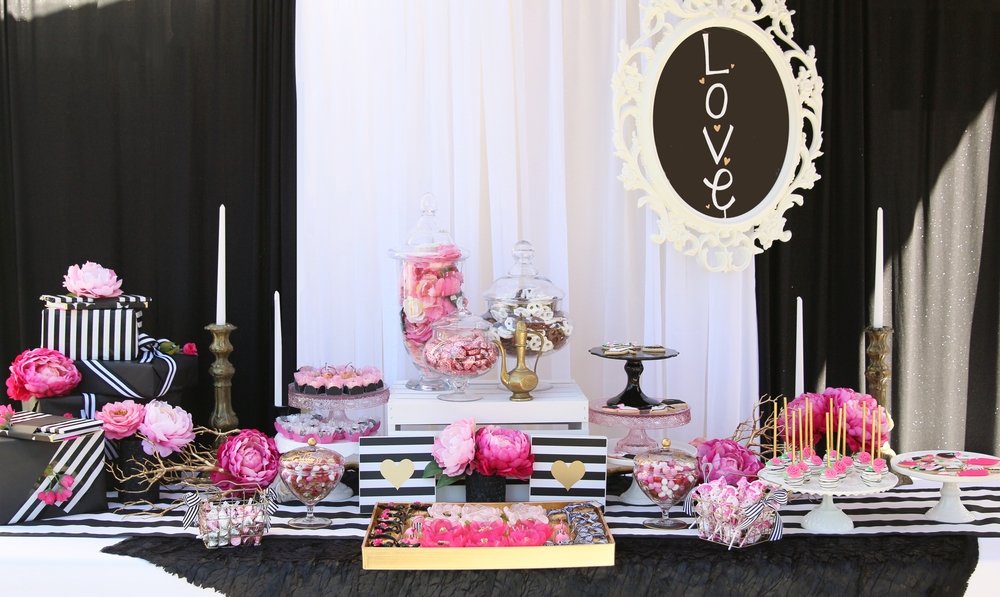 "You'll want to find a reason to celebrate with our ""Pink Please"" Collection! Everything in this collection is prepackaged to rent! Black & White Stripes, Gold accents, & Pink Peonies! @inJOYtheParty"