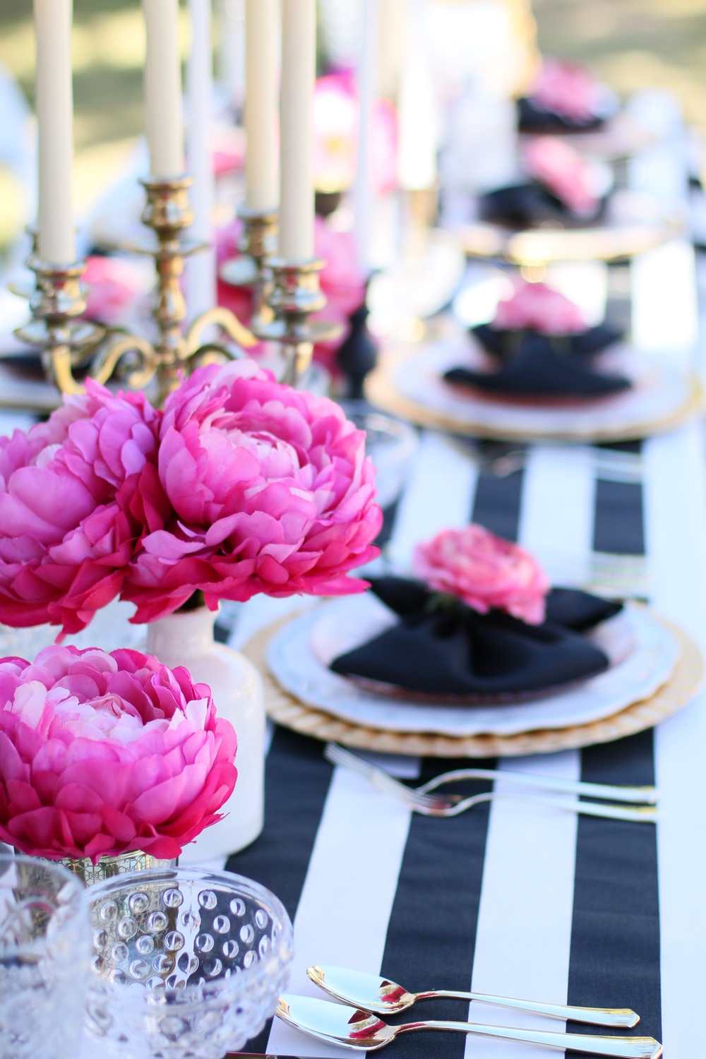 "Copy of You'll want to find a reason to celebrate with our ""Pink Please"" Rental Collection! Everything here is prepackaged to rent! Black & White Stripes + Pink Peonies + gold accents = LOVE! @inJOYtheParty"