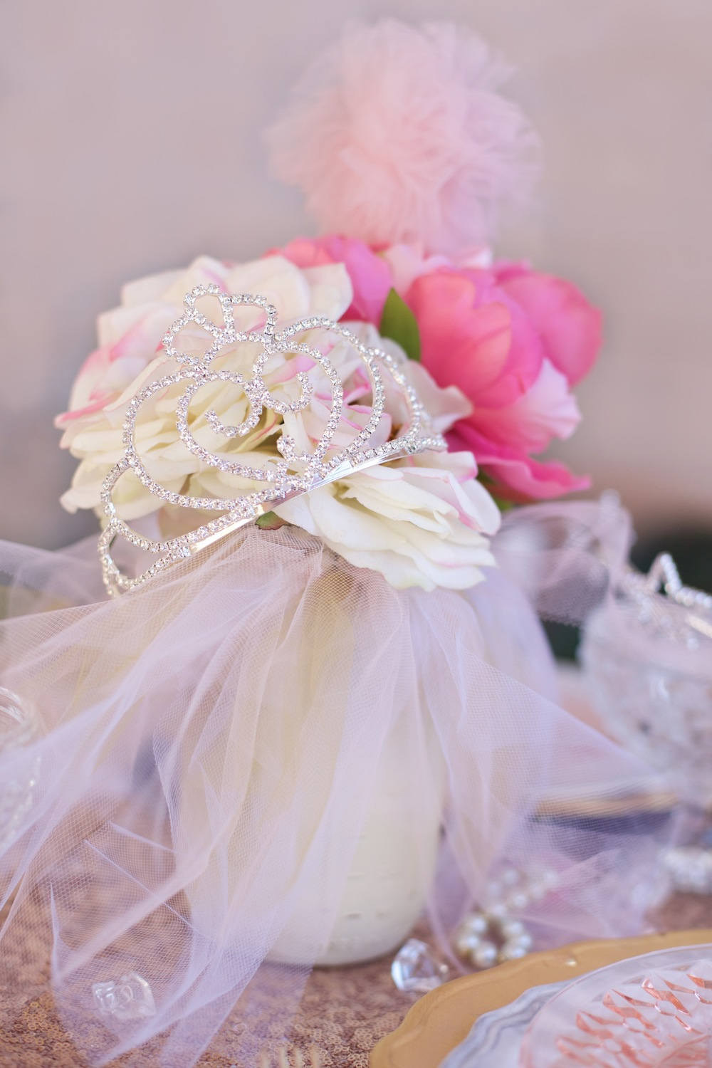 Copy Of A Rental Collection With An Elaborate Ensemble Of Pink Tutu  Centerpieces, White Chiavari