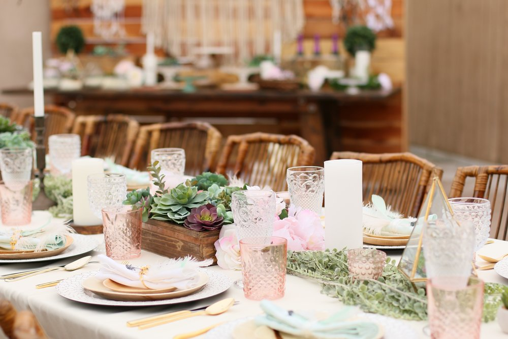 A gorgeous pre-curated rental collection with succulents, pops of blush, dreamcatchers, and rustic wood accents. Make it yours for your next baby or bridal shower! @inJOYtheParty