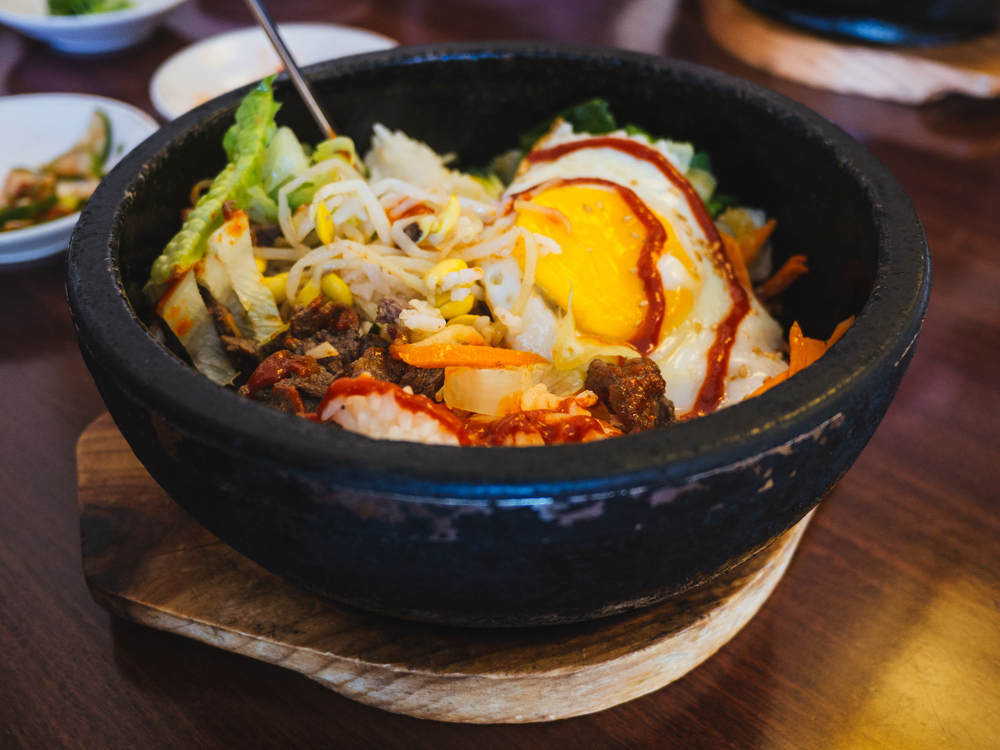 Bibimbap  with  gochujang  added.