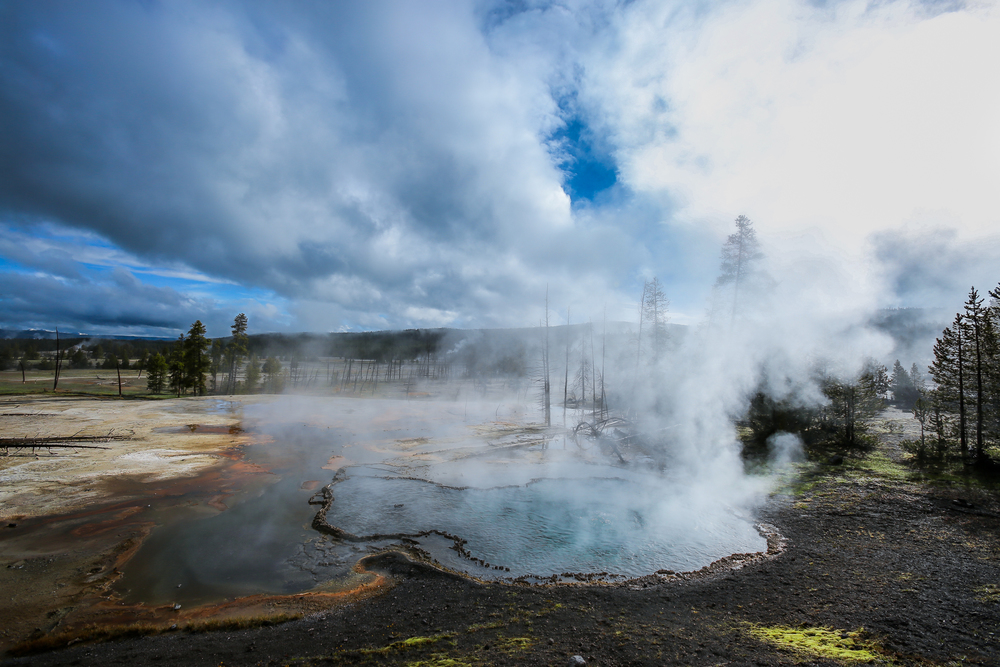 Firehole Spring, shot with a circular polarizer and wide-angle lens.
