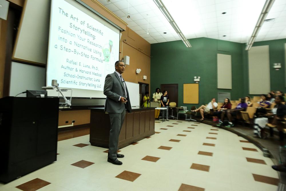 Dr. Rafael Luna speaking at LSU. Photo credit: Paige Jarreau.
