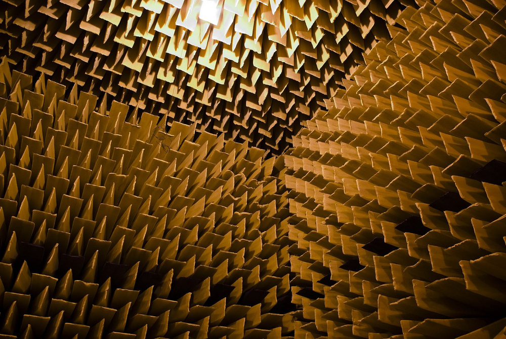 Anechoic chamber - This room has long wedges of foam all over the walls so there are no echoes. Image credit: Gillie Rhodes, Flickr.com