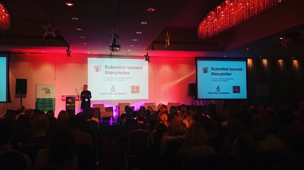 Me talking at #scicom15 - Image via a @SciCom15 twitter post.
