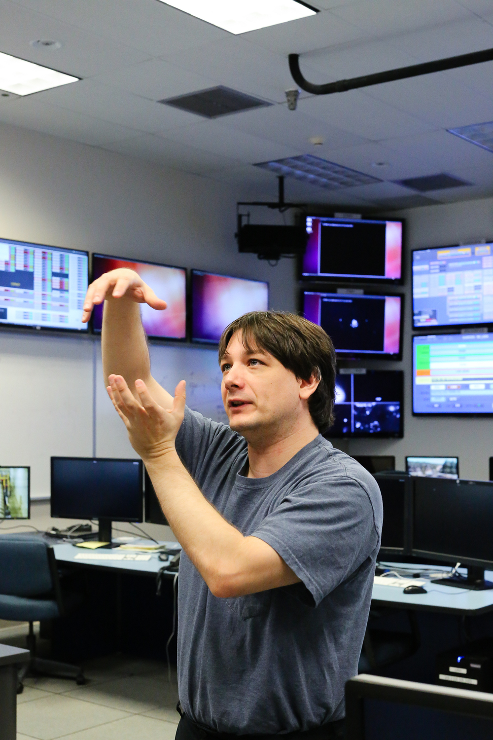 Joe Betzwieser giving a tour at LIGO. Photo by Paige Jarreau.