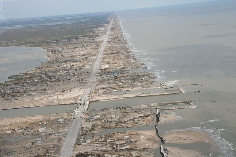 Total destruction of the Bolivar Peninsula by Hurricane Ike's meteotsunamic storm surge in 2008.