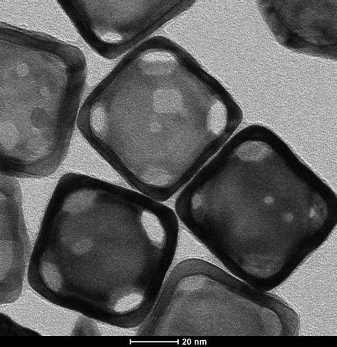 Gold Nanocages all in a row. Transmission Electron Micrograph, prepared by Paige Brown Jarreau.