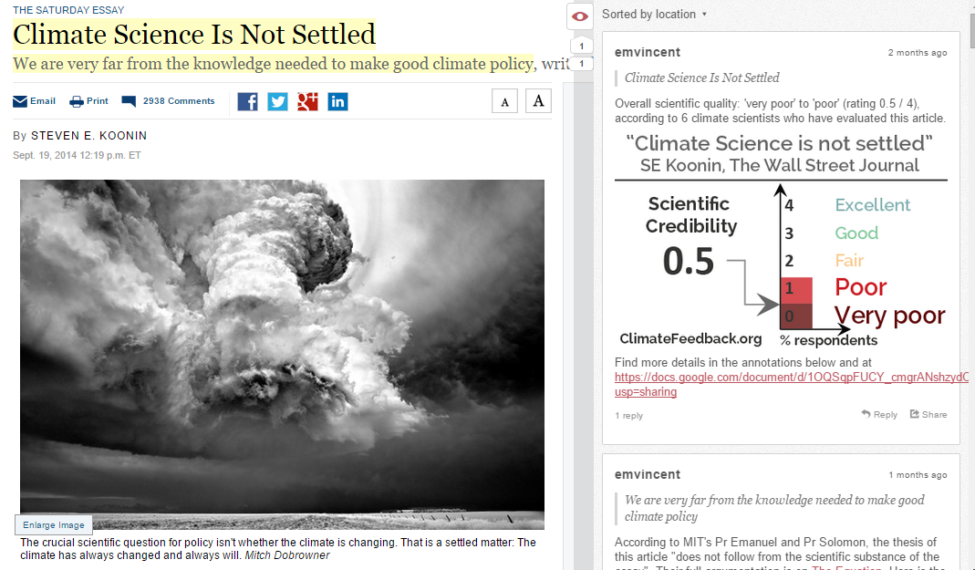 A New York Times column, with hypothes.is-powered annotations on the right.