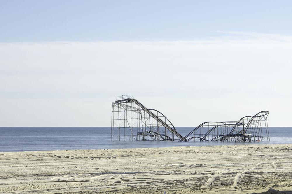 SEASIDE HEIGHTS, NJ - JANUARY 6: The Jet Star roller coaster in the Atlantic Ocean just a few months after Hurricane Sandy. Photo taken January 6, 2013. Shutterstock: http://ow.ly/yq3rP