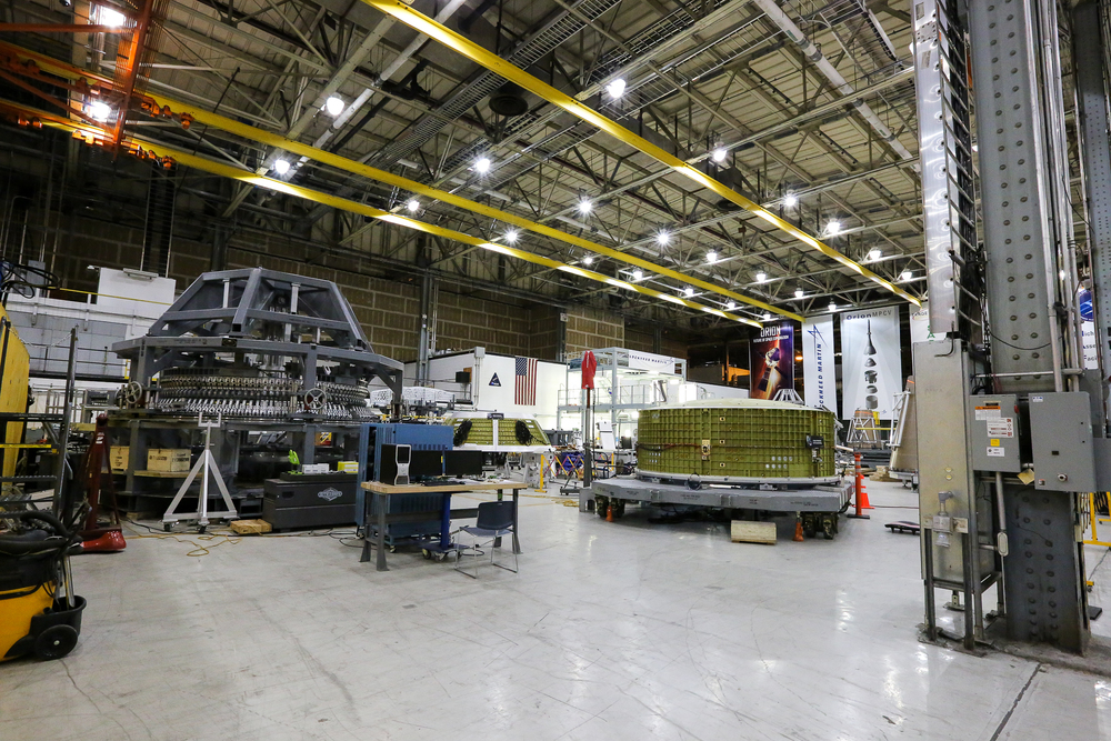 Some of the hardware pieces that will form Orion, the crew module that will go on top of SLS and be launched into deep space and to Mars. Image Credit: Paige Jarreau.