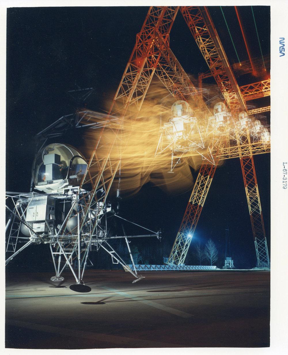Multiple Exposure image of LEM at Impact Dynamics Research Facility (1297); 1967. Credit: NASA.