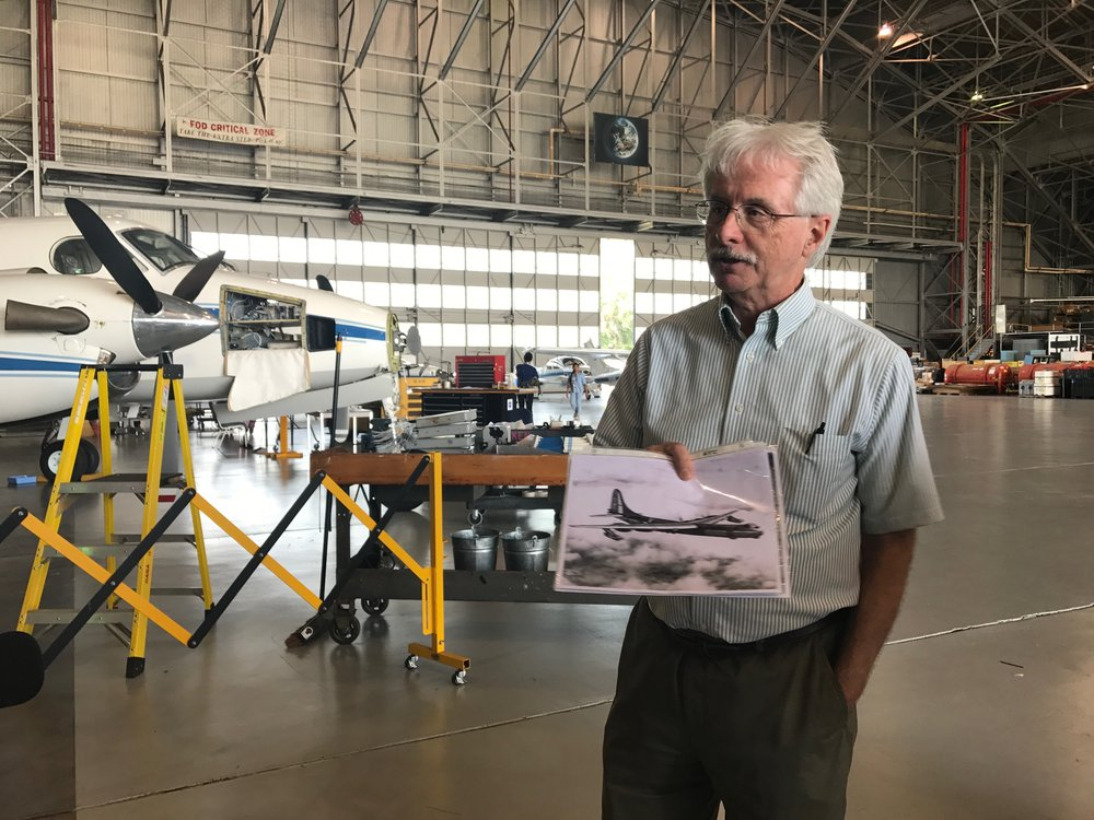 Bruce Fisher gives a tour of NASA Langley's hangar