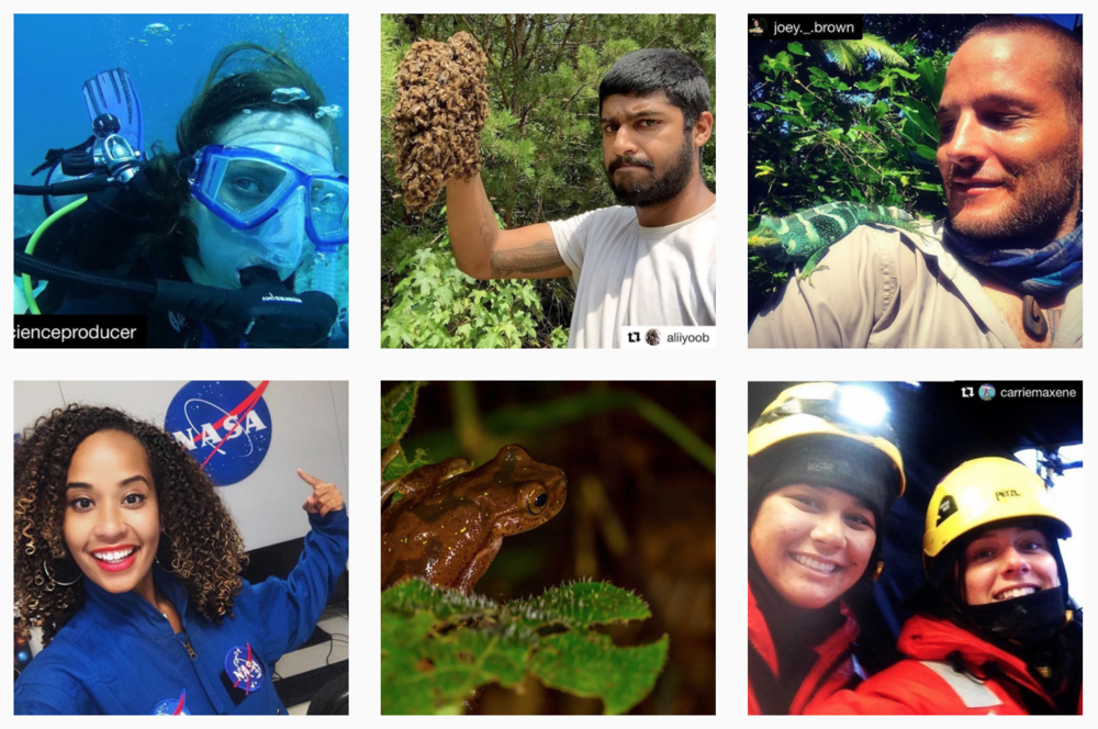 #ScientistsWhoSelfie on the @ScientistsSelfies Instagram feed.