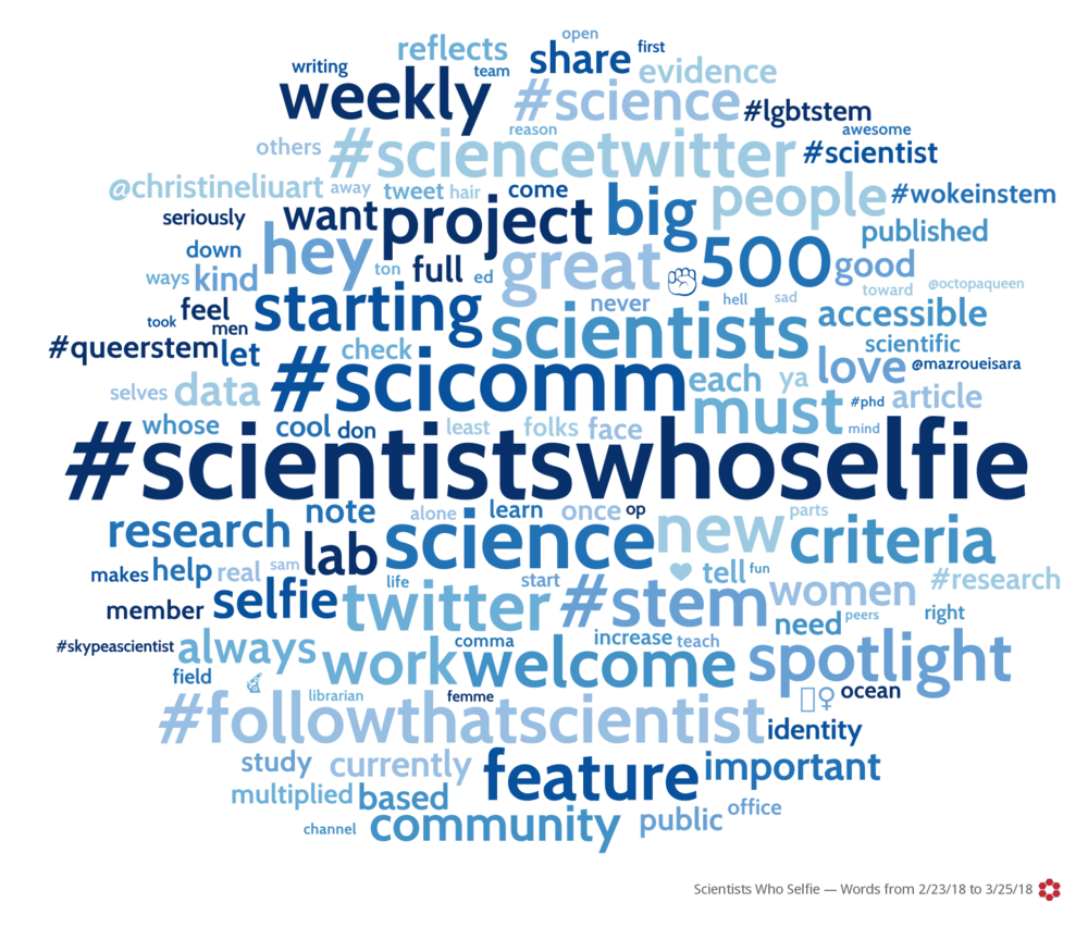 #ScientistsWhoSelfie posts word cloud.