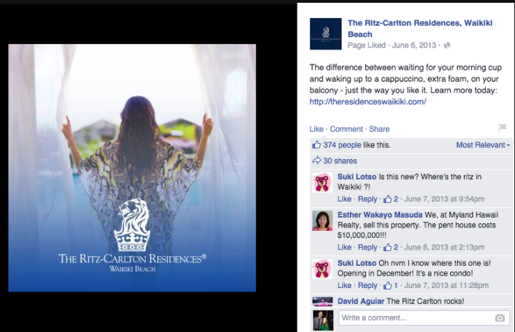 The Ritz-Carlton Residences, Waikiki Beach. Social Media campaign 2013