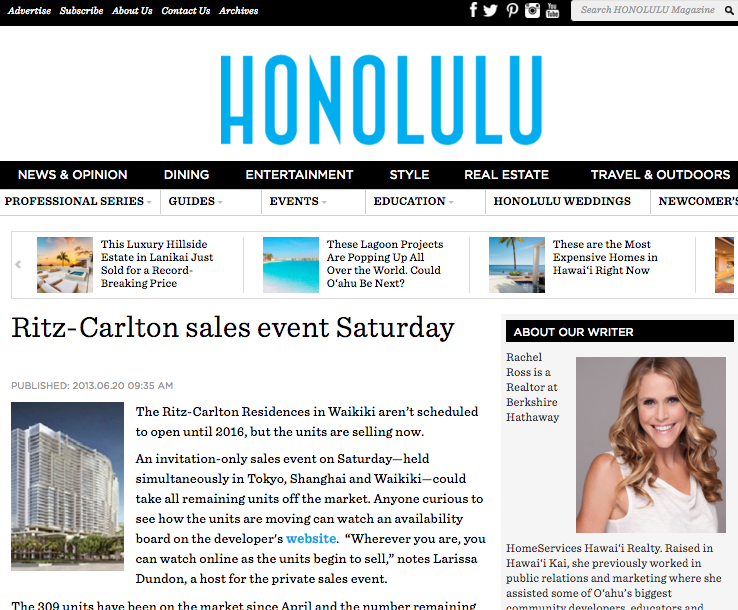 Ritz-Carlton sales event Saturday, Honolulu Magazine, June 2013