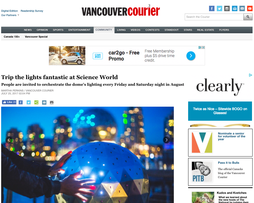 Trip the lights fantastic at Science World, Vancouver Courier, July 2017