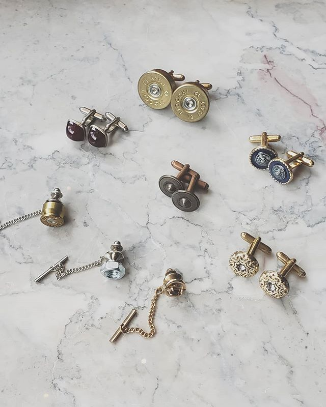 Valentine's Day is quickly approaching! Cufflinks and tie tacks make a great gift for your special someone! All of these you see here are either handmade or Vintage. These are all unique and once they sell out, they are gone! Cufflinks are $40, Tie Tacks are $27. Shipping is $2.99. These are not on the website so please order through DM.