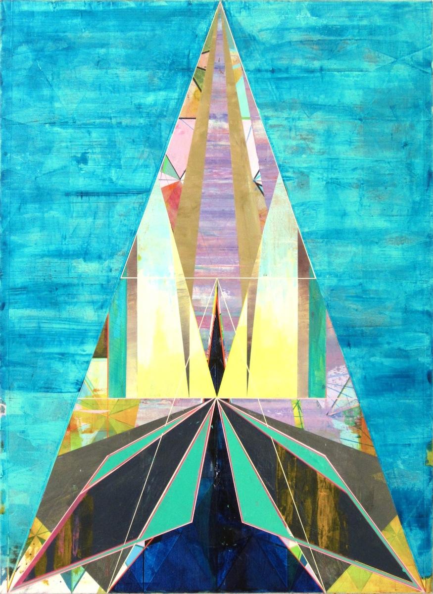 """BLUE TRIANGLE, 50"""" X 36"""", ACRYLIC ON CANVAS, 2014"""