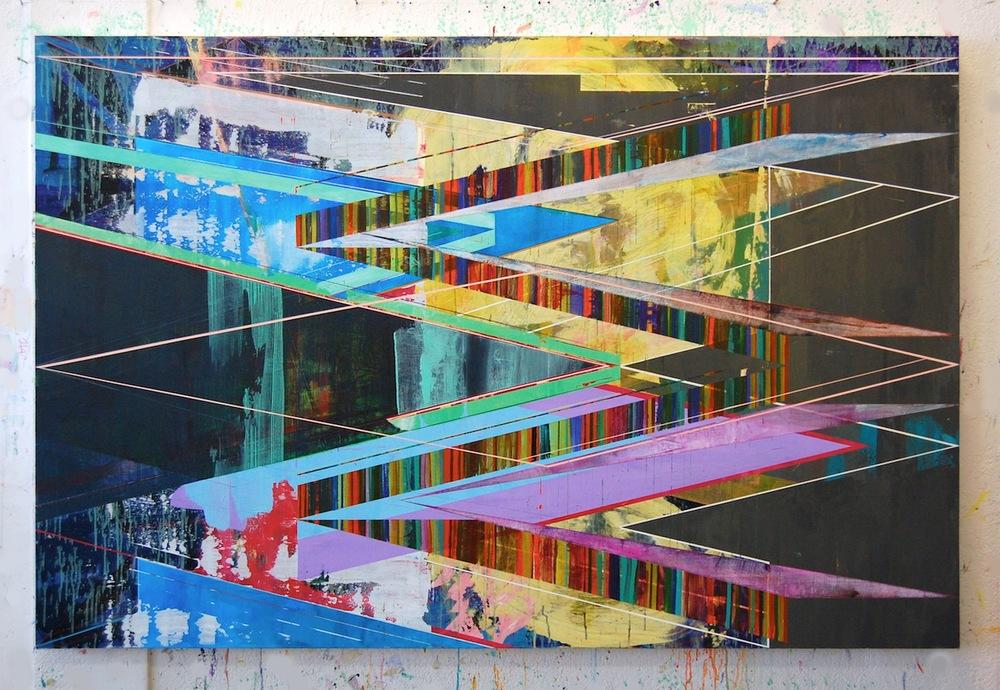 "BLUE YELLOW 1, 48"" X 72"", ACRYLIC ON CANVAS, 2015"