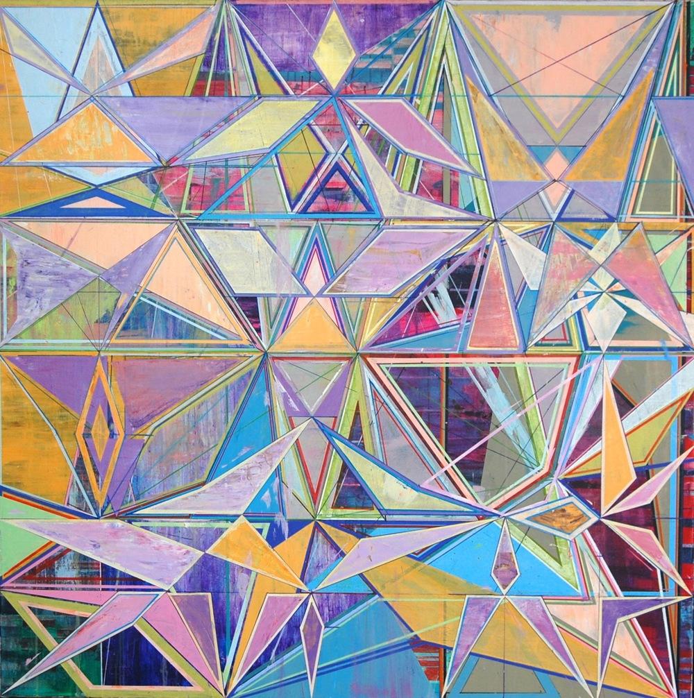 "YELLOW PATTERN, 56"" X 56"", ACRYLIC ON CANVAS, 2014"